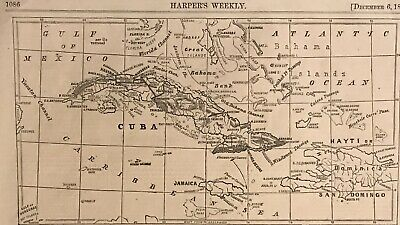 "Map Of Cuba. Course Of The ""Virginius"" 1873. Harper's Weekly."