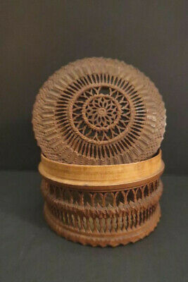 Antique Singing Cricket Cage Wooden Hand Carved Box 1850-1900
