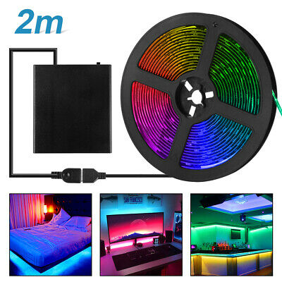 USB Powered LED Strip Light RGB + Battery Box + Controller Multi Color 2m LD2327