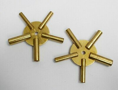 Clock Winding Keys(Set Of 2)- Odd And Even - All Sizes Brass Spider Star Key Set