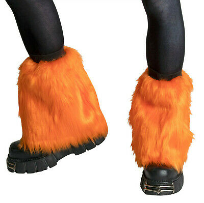 PAWSTAR Pony Puff Leg Warmer furry rave dance fluffies music orange [OR]2590