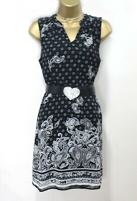 Ladies Tunic Dress 10 Black Cream Paisley Print Boho Lined V Neck Summer Spring