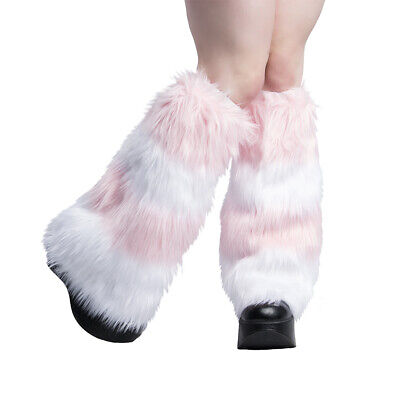 PAWSTAR Furry Leg Warmers - Fluffies Stripes Pastel Baby Light Pink [WHPI]2550