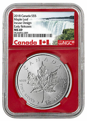 2019 CANADA SILVER MAPLE LEAF - INCUSE Incused S$5 1 Oz NGC MS69 RED Core