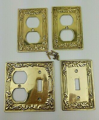 Lot of 4 Solid Brass Outlet and Light Switch Covers