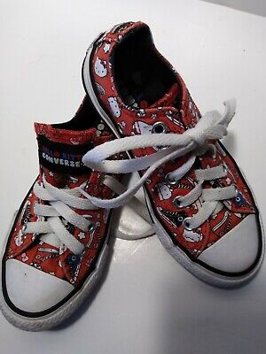 Hello Kitty CONVERSE All Star Little Girls Youth Size 11 M Red