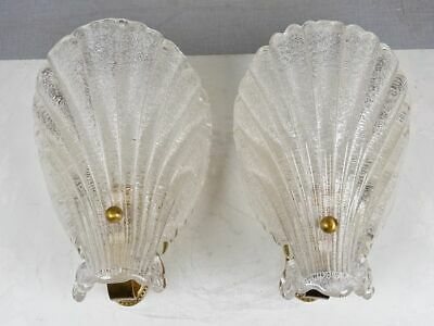 Beautiful Pair of Barovier & Toso Scalloped Shell Wall Sconces