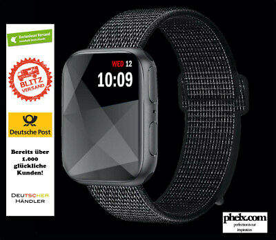 Für Apple Watch Nylongewebte Band Nylon Sport Loop Armband BLACK + REFLEKTIEREND