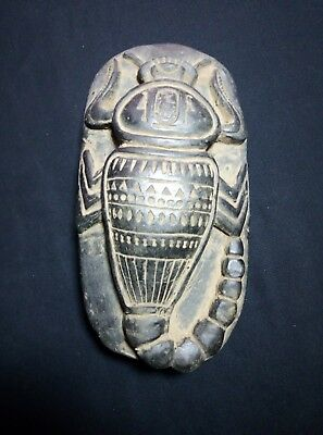 RARE ANTIQUE ANCIENT EGYPTIAN Scarab Beetle Hieroglyphs Carved Stone 1276 Bc