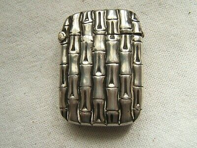Sterling Silver Match Safe English Bamboo Pattern Excellent Quality