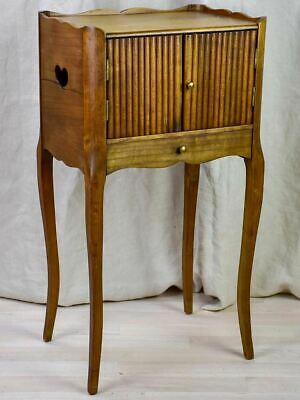 Antique French nightstand with ribbed doors and heart shaped cut out