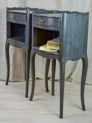 Pair of Louis XV style 1950's French nightstands with teal blue paint finish