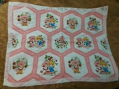 Vintage Strawberry Shortcake Baby Quilt 32 x 43 Blanket Crib Handmade