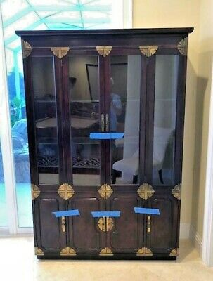 Bernhardt Asian Oriental Style China Cabinet Cherry Mahogany