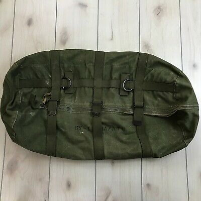 Vintage Military Duffle Bag 3 Strap Zipper Closure OD Green Tool Gear Storage