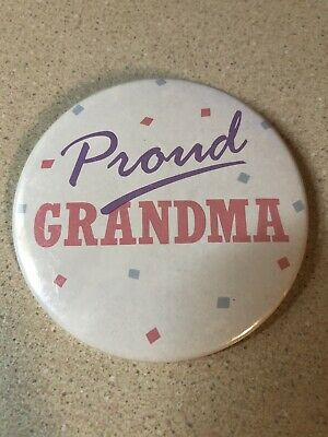 "Proud Grandma Birth Revel Announcement Support Pink Pin 3"" GUC Button Russ USA"