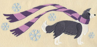 Winter Border Collie Personalized Sweatshirt  Embroidered Beautiful Gift