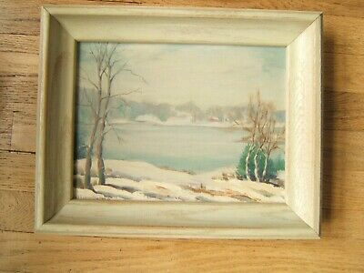 Vintage Landscape Oil Painting Winter Scene Signed