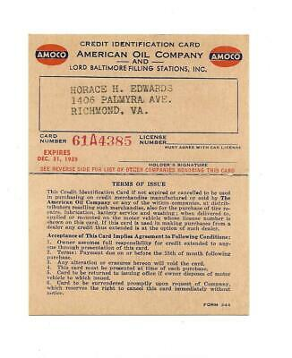 1939 American Oil Company AMOCO Charge Credit Identification Card
