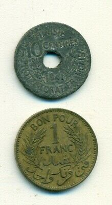 2 OLDER COINS from TUNISIA - 10 CENTIMES & 1 FRANC (BOTH DATING 1941)