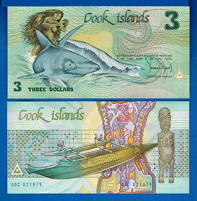 Cook Islands P-3 3 Dollars Year ND 1987 Shark Uncirculated Banknote