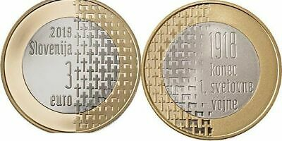SET BU Slovenia // Slowenien: EURO 2018 including BEE DAY and WW1 coin UNC