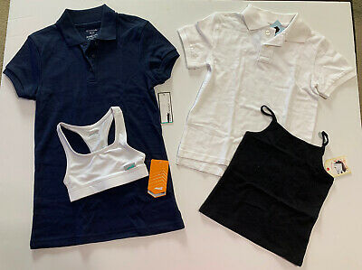New With Tags Bundle of girls Clothes XS Uniform Polo Shirts Sports Bra Tank Top