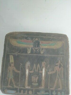 RARE ANTIQUE ANCIENT EGYPTIAN Stela Scarab God Amun Anubis 1751-1687 Bc