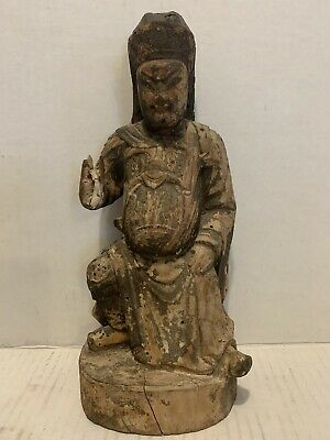 Very Old Carved Wooden Fat Buddha With Some Whiskers