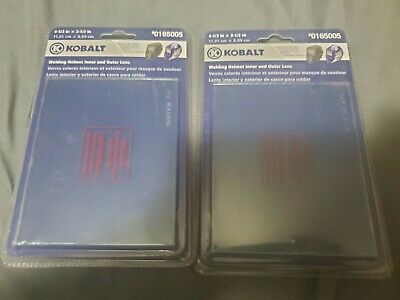 Lot of 2 Kobalt Welding Helmet Outer Lens Replacement 4-1/3 x 3-1/2 #0165005 NEW