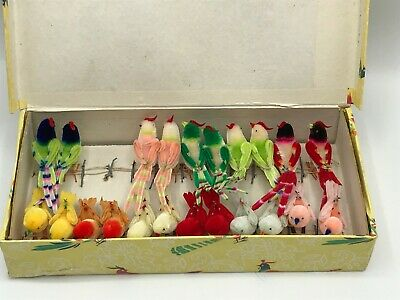 Vintage NOS 1950'S Chenille Birds In Box 22 Mint Never removed