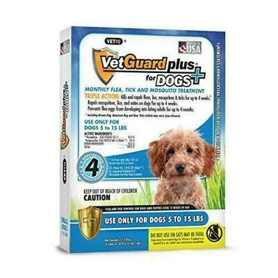 4 Months Flea &Tick Control Drops for Small Dogs 5-15 LBS Vetguard Plus BEST