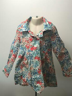 Girls John Lewis Red White Blue Lightweight Hooded Rain Coat Jacket Kids 8 Yrs