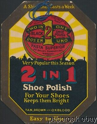 ca1920's 2 In 1 Shoe Polish Color Store Card