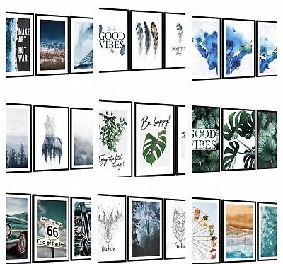 Set of 3 Framed A3 Pictures Wall Art Ready to Hang Poster Home Bedroom Hall NEW