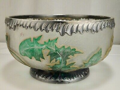 Daum Cameo Etched Glass & Sterling Silver Dandelion Bowl - 59226