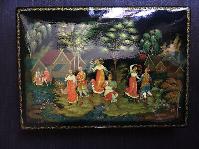 Große russische lackdose, Palekh, Palech, USSR, Russian Lacquer Box