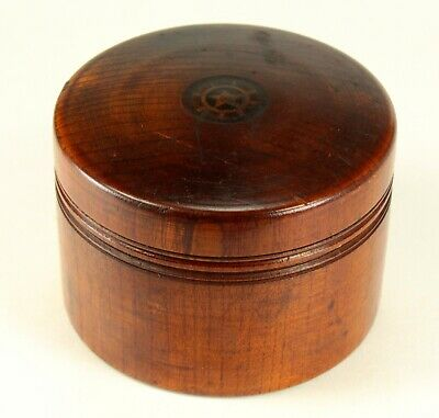 ^ Antique 1700/1800's Georgian Turned Inlaid Wood Circular Box Treen Round