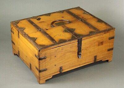 ^ Antique 1800's Chinese Wood & Wrought Iron Document Calligraphy Chest Box