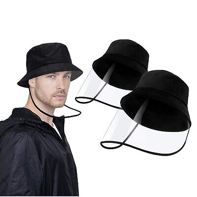 1pc Black Anti-saliva Protective Fisherman Cap Hat Face Soft Shield Removable