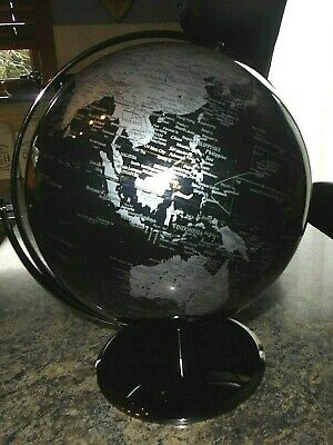 Vintage Earth Globe Black And Silver Double Axis