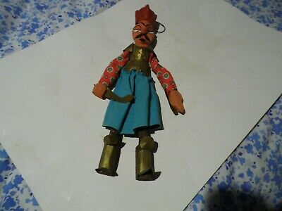 """Fantastic vintage wooden carved,painted,clothed warrior,oriental.15.5"""" tall"""