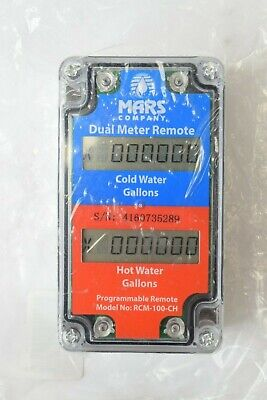 Mars Dual Water Meter Programmable Remote Cold Hot Gallons RCM-100-CH
