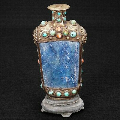 Sino Tibetan Snuff Bottle with Blue Stone, Turquoise Coral on Stand Early 20th C