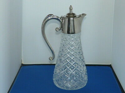 Vintage Large Pressed Glass And Silver Plated Claret Wine Jug