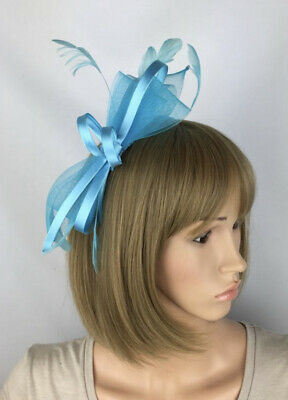 Blue Fascinator Turquoise Bow Wedding Hatinator Mother Of The Bride Ascot Races