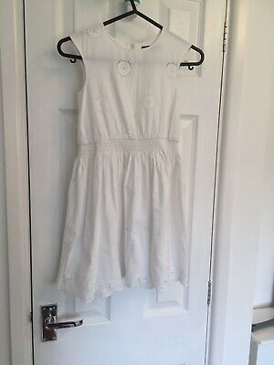 M&S Autograph Girls  broderie anglais Cotton Dress  Age 4 to 5 years White