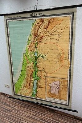 Old Large Teaching Board Palestine, Wall Map, Role Map, Vintage, Decor