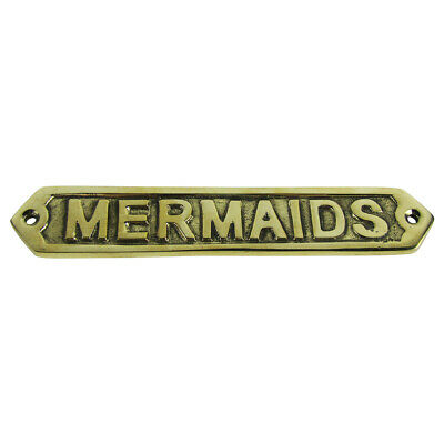 Solid Brass Ship Ship's boat plaque MERMAIDS nautical mermaid decor ships sign