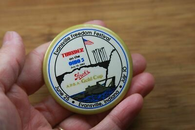 Vintage Pinback Button Hydroplane Boat Evansville In '83 Freedom Festival Ohio